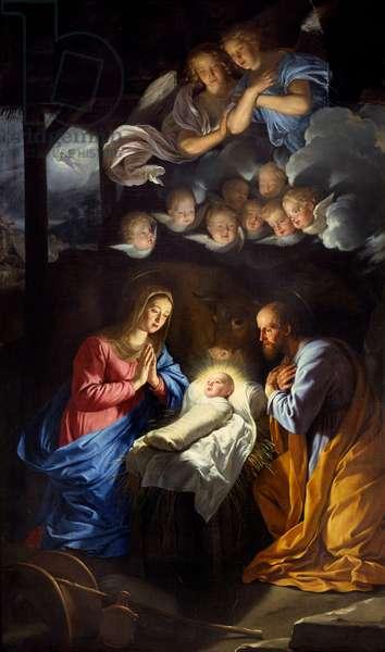 The Nativite. Painting by Philippe De Champaigne (1602-1674), 1643. Oil on canvas. Dim: 2,07 x 1,16m. Lille, Museum of Fine Arts