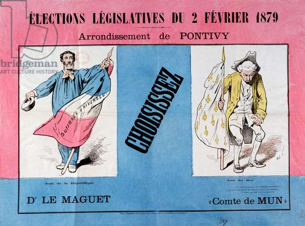 Third Republic: poster for the legislative elections of 2/02/1879 in the municipality of Pontivy (Morbihan). Paris. Museum of Poster and Advertising