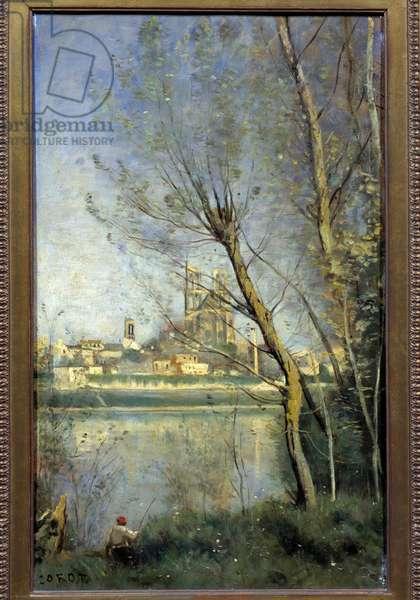 La cathedrale de Mantes (Mantes-la-Jolie Yvelines) Painting by Camille Corot (1796-1875) 1865 Sun. 0,5x0,31 m Reims, Musee des Beaux Arts