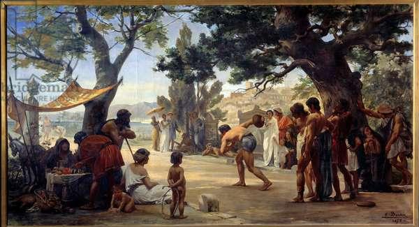 """Greek antiquite: """""""" Le jeu du disque"""""""" (discobole) paintrue by Joseph Dantan (1848-1897) 1875 Rouen, Musee des Beaux Arts"""