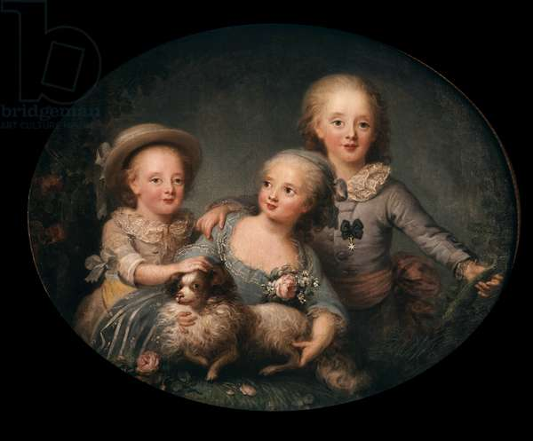 Portrait of the children of Charles X: Charles Ferdinand d'Artois Duke of Berry (1778-1820), Mademoiselle d'Artois (1776-1783) and Louis Antoine Duke of Angouleme (1775-1851) Painting by Anne Rosalie Filleul (1752-1794) 1781 Dim. 0,8x1 m