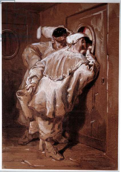 """Commedia dell'arte: """""""" Two pierrots or polichinelles looking in a theatre lodge"""""""" Drawing by Paul Gavarni (1804-1866) 19th century Paris, musee du Louvre"""