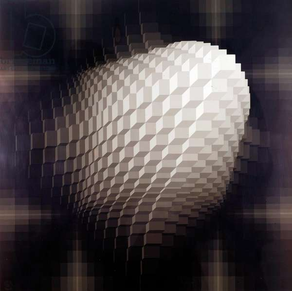 Cubic structure Serigraphy by Jean Pierre Vasarely dit Yvaral (1934-2002) 20th century Private collection
