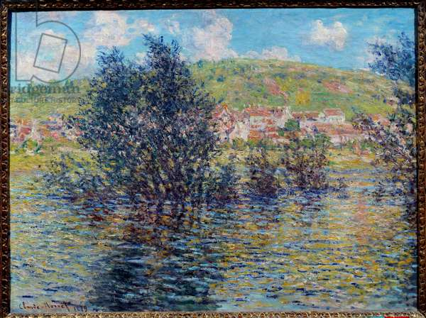 La Seine a Vetheuil, sun effect after rain. Painting by Claude Monet (1840-1926), 1879. Oil on canvas. Dim: 0.60 x 0.81m. Paris, Musee d'Orsay - The Seine at Vetheuil, effect of sunshine after the rain. Painting by Claude Monet (1840-1926), 1879. Oil on canvas. 0.60 x 0.81 m. Orsay Museum, Paris