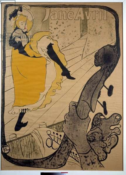 Jane Avril, aux jardins de Paris Poster by Henri de Toulouse-Lautrec (1864-1901). Dim. 1.30 x 0.95. 1893. Albi, Musee Toulouse Lautrec