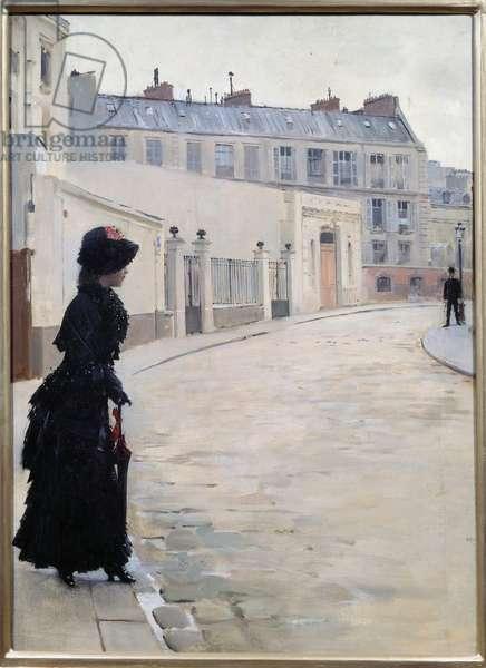 L'attente, rue de Chateaubriand a Paris Painting by Jean Beraud (1849-1935), 19th century Sun. 0,56x0,39 m Paris, musee d'Orsay - The Wait, rue de Chateaubriand in Paris. Painting by Jean Beraud (1849-1935), 19th century. 0.56 x 0.39 m. Orsay Museum, Paris