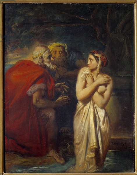 Suzanne and the Elders Painting by Theodore Chasseriau (1819-1856) 1856 Sun. 0,4x0,31 m
