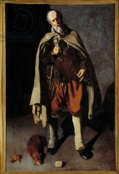 The old dog. Painting by George of the Tower (1593-1652), 17th century. Dim. 1,86x1,2m. Bergues, municipal museum