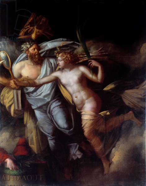 """French Revolution: """""""" The triumph of the French people on August 10"""""""" Allegory of the day of August 10, 1792, the skinless took the palace of the Tuileries with arms in hand and suspended King Louis XVI. Painting by Philippe Auguste Hennequin (1762-1833) Sun. 2,24x1,75 m"""
