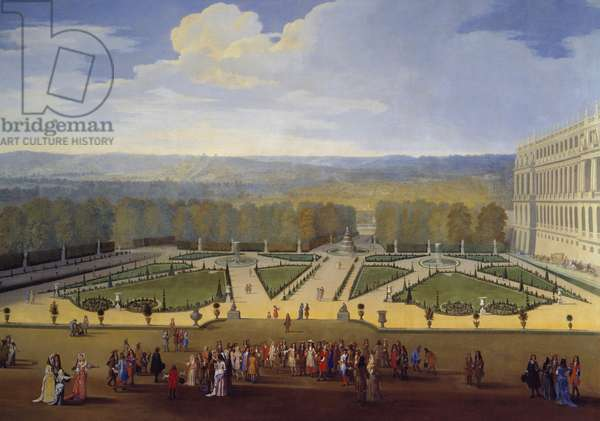 Promenade de Louis XIV (1638-1715) in view of the northern parterre in the gardens of Versailles Painting by Etienne Allegrain (1644-1736) 1688 approx. Sun. 2,3x2,9 m