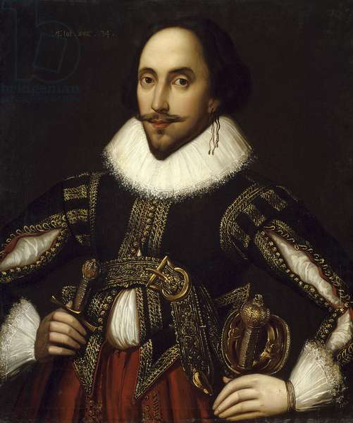 Portrait of British playwright William Shakespeare (1564-1616) (represented at the age of 34). Painting by Louis Coblitz (1814-1863) 1847, Dim. 0,76 x 0,65 m Versailles. Musee Du Chateau - Portrait of the British playwright, William Shakespeare (1564-1616) (at the age of 34). Painting by Louis Coblitz (1814-1863), 1847. 0.76 x 0.65 m.