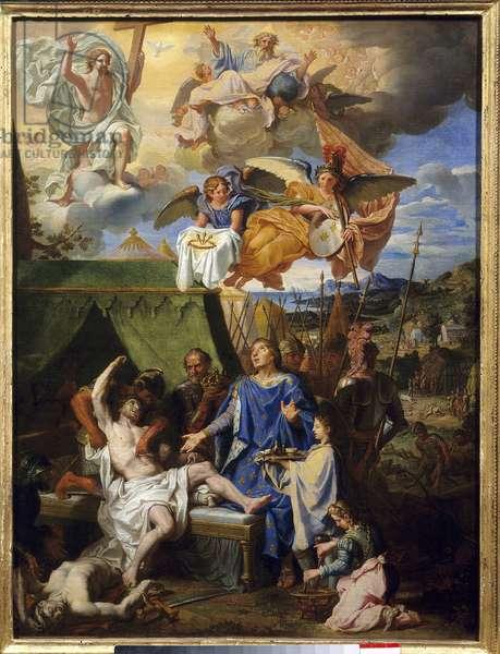 """Thaumaturgie: """""""" King Louis IX (1214-1270) (Saint Louis) warriing the ecrouelles"""""""" Painting by Louis Licherie De Beury (1629-1687) Sun. 0,79 x 0,58 m Rouen, Musee Des Beaux Arts"""