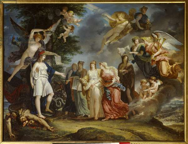 """Siecle des Lumieres: """""""" Triumphant France encourages Science and Arts in the midst of the war"""""""" Painting by Charles Meynier (1768-1832) 1795 Paris, Musee Marmottan"""