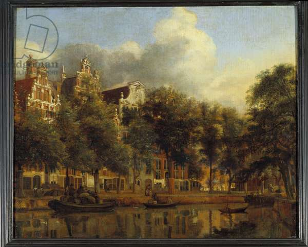 View of the Herengracht in Amsterdam Painting by Jan Van der Heyden (1637-1712), 18th century Sun. 3,65x4,4 m .