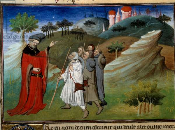 """Des pelerins sur la route de la terre sainte Miniature in """""""" Voyages"""""""" written by John (Jehan de Mandeville) (1300? - 1372), enluminated by the Master of Egerton, about 1410-1412, from the manuscript collection (Ms 2810, Folio 142v.) """""""" Book of Wonders and Other Recits of Travels and Texts on the Orient"""""""" B.N., Paris"""