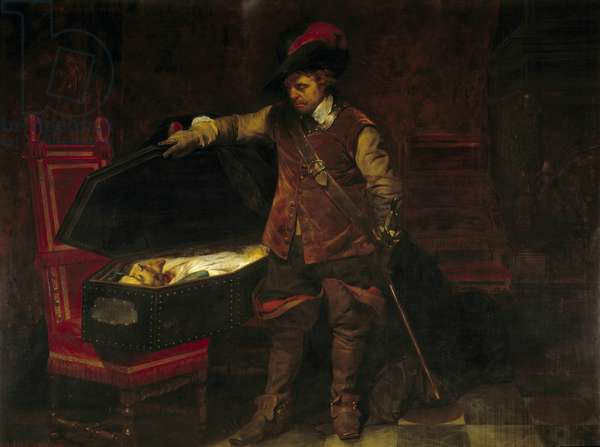 Cromwell in front of the coffin of Charles I Stuart (1649). Oliver Cromwell (1599-1658) imposed the trial of the King of England, who was sentenced and sentenced on February 9, 1649. Painting by Paul Delaroche (1797-1856), 1831. Nimes, Museum of Fine Arts
