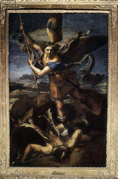 Saint Michael defeating the dragon or the great Saint Michael Painting by Raffaello Sanzio dit Raphael (1483-1520) 1518. Sun 2,68x1,6 m Paris musee du Louvre