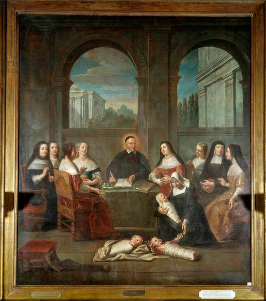 Saint Vincent de Paul and the ladies of charity Representation of Saint Vincent de Paul, priest, founder of the establishment of the daughters of Charity in 1634 (1576-1660) surrounded by nuns caring for newborns and ladies of charity. Anonymous painting of the French school. 17th century. Paris, Musee de l'Assistance publique