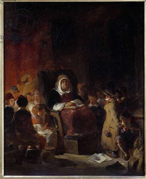 The school teacher An old teacher ridee asleep among the students. Painting by Nicolas Toussaint Charlet (1792-1845) 19th century Sun. 0.46 X 0.37 m Rouen, Musee des Beaux Arts
