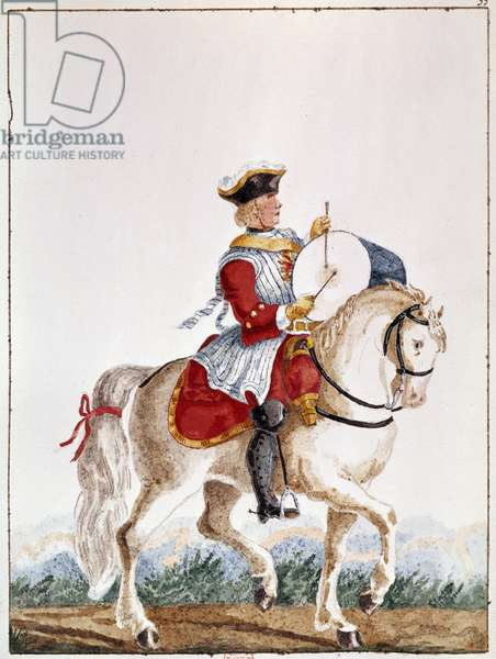 Representation of a French musketeer from the period of Louis XV. Gouache of the 18th century Paris, B.N.