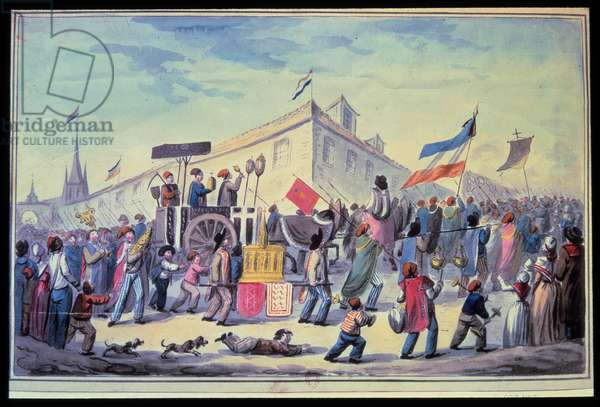 """French Revolution: """""""" An anti-religious masquerade in November 1793"""""""" Anonymous watercolour of 1793. Paris Library of the Arsenal"""