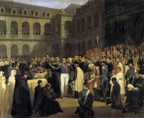 Funeral for the victims of the Fieschi attack on 5/08/1835 in the presence of King Louis-Philippe The attack of Giuseppe Fieschi (Corsican conspirator) took place on 28 July 1835 against Louis-Philippe I, King of the French, Boulevard du Temple in Paris. Painting by Francois Marius Granet (1775-1849) 1835. Sun 4,35 x 2,7 m