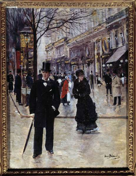 On the Parisian Boulevard Scene on the Parisian Grands Boulevards at the Belle Epoque. On the left, a Morris column. Painting by Jean Beraud (1849-1935) 19th century. Dim. 0,33 x 0,25 m Paris, Musee Carnavalet - On the Boulevard. Parisian scene during La Belle Eopque. On the left, a Morris Column. Painting by Jean Beraud (1849-1935) - 19th century. 0.33 x 0.25 m. Carnavalet Museum, Paris