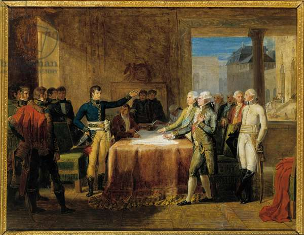 """Napoleonic War: """""""" Signature of the Preliminaries of the Peace of Leoben"""""""" (April 17, 1797) Painting by Guillaume Lethiere (1760-1832), 1805. Oil on canvas. Dim: 3,32 x 5,90m.  - Napoleonic Wars: """""""" Preliminary of the peace signed at Leoben"""""""" (17 April 1797). Painting by Guillaume Lethiere (1760-1832), 1805. Oil on canvas. 3.32 x 5.90 m."""