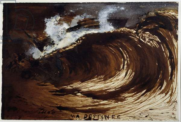 My destiny. Representation of a wave in the middle of the sea. Drawing by Victor Hugo (1802-1885), 1867. Wash. Dim: 0,17 X 0,26m. Paris, Maison Victor Hugo
