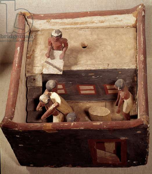 Egyptian antiquite: attic model with scribes recording the price of grain. Made in painted wood. 12th dynasty, Middle Empire (2033-1710 BC). From Assiut. Dim. 0,32x0,44 m. Louvre Museum, Paris