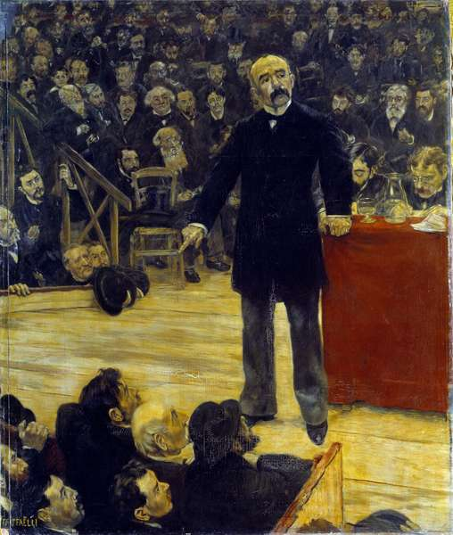 Georges Clemenceau (1841-1929) giving a speech at the Fernando Circus (1883). Painting by Jean Francois Raffaelli (1850-1924), 1885. Oil on canvas. Dim: 2.43 x 2.05m.