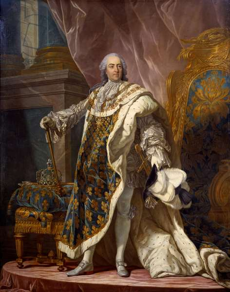 Portrait in foot of Louis XV (1710-1774) in sacred costume, King of France. Painting by Jean Martial Fredou (1710-1774) after Louis Michel van Loo (1707-1771) 1761 Dim. 2,77x1,95 m Versailles, musee du chateau - Full-length portrait of Louis XV (1710-1774), King of France, in coronation robes. Painting by Jean-Martial Fredou (1710-1795) after Louis Michel van Loo (1707-1771), 1761. 2.77 x 1.95 m. Castle Museum, Versailles, France