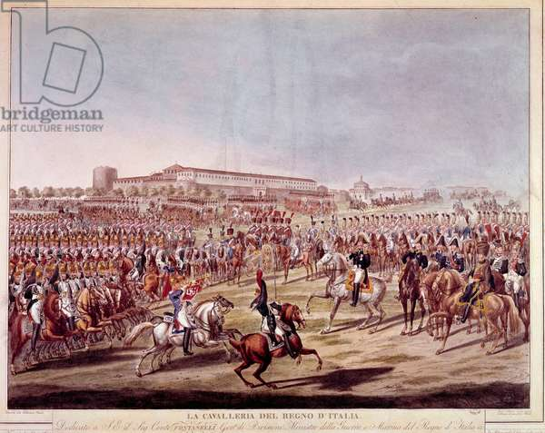 Parade of the Italian cavalry of the Kingdom of Italy. Prints from the beginning of the 19th century