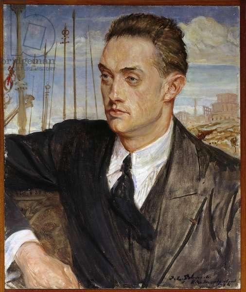 Portrait of the French writer Henri de Montherlant (1896-1972) Painting by Jacques Emile (Jacques-Emile) Blanche (1861-1942) 1924 Sun. 0,54x0,45 m Rouen, musee des Beaux Arts