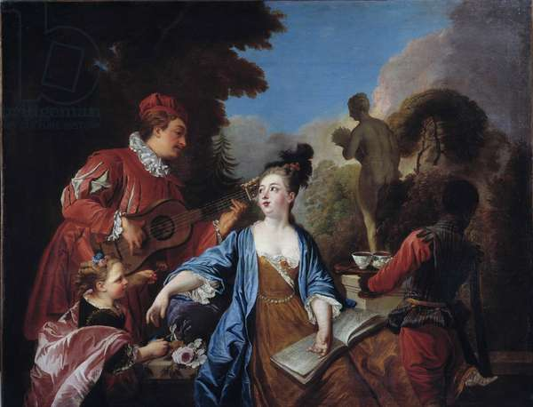 taste it in a park Young people of the nobility get served the tea in the garden by a young black servant. Painting of the French School. 18th century. Sun 1,71x1,32 m Rouen, musee des Beaux Arts