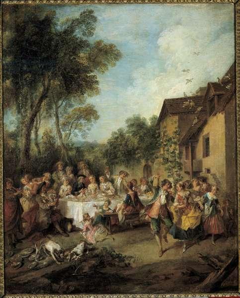 The honeymoon Painting by Nicolas Lancret (1690-1743) 18th century Angers, Museum of Fine Arts