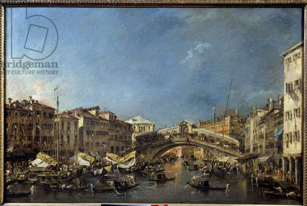 The Rialto Bridge in Venice in the 18th century Painting by Francesco Guardi (1712-1793) 18th century Sun. 0,62x0,93 m Toulouse, Musee des Augustins
