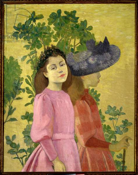 Two Young Girls, Spring Painting by Aristide Maillol (1861-1944) 1890 Private Collection