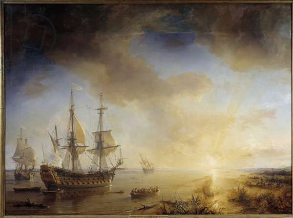 Expedition of Robert Cavelier de La Salle to Louisiana (1684). Painting by Theodore Gudin (1802-1880), 1844. Oil on canvas. Dim: 1,67 x 2,28m.