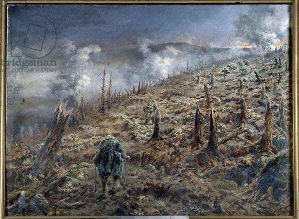"""First World War (1914-1918): """"The ravine of death in Verdun"""" Landscape of ruins and ashes after the battle. Painting by Ferdinand Joseph Gueldry (1858-1945) 1916 Paris. Museum of the Two World Wars"""