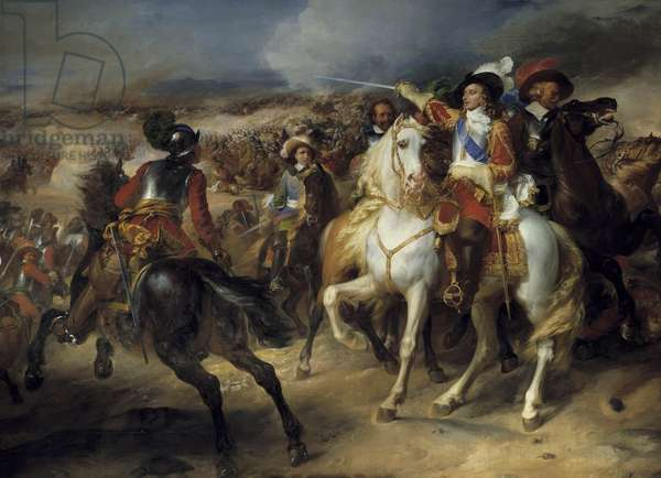 """Thirty Years' War (1618-1648): """""""" Louis II of Bourbon, Prince of Conde (Bourbon-Conde) (Grand Conde) (1621-1686) at the Battle of Lens, 20 August 1648, victory over the Spaniards commanded by Archduke Leopold"""""""" Representation of Louis II of Bourbon, 4th Prince of Conde (Bourbon-Conde) said the Great Conde (1621-1686). Painting by Jean-Pierre (Jean Pierre) Franque (1774-1860) Around 1835. Dim. 4,6x5,4 m.  - Thirty Years War (1618-1648): """""""" Louis II de Bourbon, Prince de Conde (Bourbon-Conde) (Grand Conde) (1621-1686) at the battle of Lens, 28 August 1648; victory over the Spanish leading by Archduke Leopold """""""" Representation of Louis II de Bourbon, 4th Prince de Conde (Bourbon-Conde) known as """""""" Grand Conde"""""""" (1621-1686). Painting by Jean-Pierre (Jean Pierre) Franque (1774-1860), circa 1835. 4.6 x 5.4 m."""