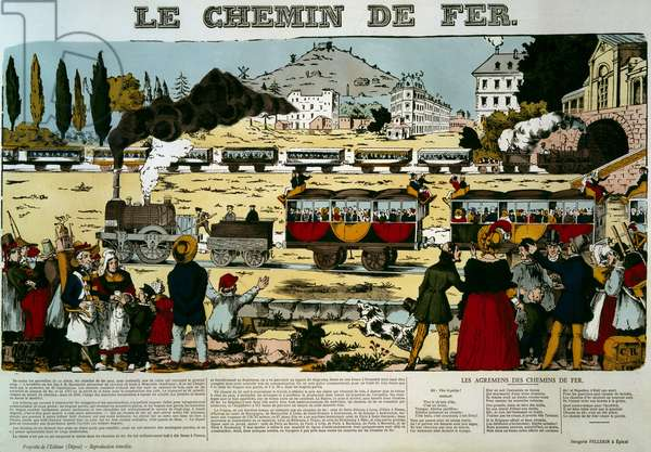 The railway. Travelers in train cars greeted by the spectator crowd of the scene. Engraving. Picture of Epinal, 19th century. Paris, NL