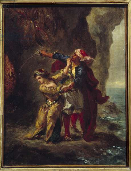 """Abydos fiancee. (The Bride of Abydos) Illustration of George Gordon Byron's book known as Lord Byron (1788-1824) """"The Bride of Abydos"""""""", song II Strophe XXIII. Painting by Eugene Delacroix (1798-1863), 1813. Oil on canvas. Dim: 0.35 x 0.27m."""