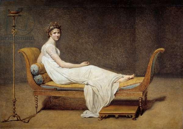 Portrait of Madame Recamier (1777 - 1849), Jeanne Francoise dite Juliette - Painting by Jacques Louis David (1748-1825), 1800, Oil on canvas, Sun: 1,74 x 2,44m - Paris, Musee Du Louvre - Portrait of Mrs Recamier (1777-1849), Jeanne Francoise called Juliette - Painting by Jacques Louis David (1748-1825), oil on canvas (174 x 244 cm), 1800 - Museum of the Louvre, Paris, Fance