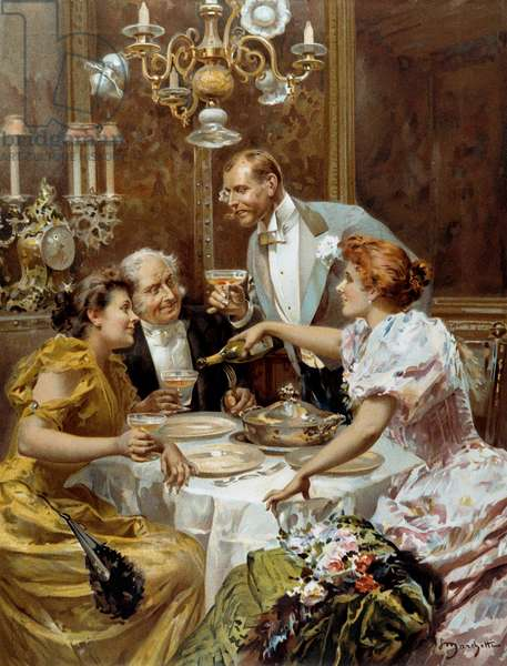 """Beautiful time: """""""" the fine supper"""""""""""" Two couples in a private lounge drink champagne. Illustration by Ludovico Marchetti (1853-1909) 1893 Private collection"""