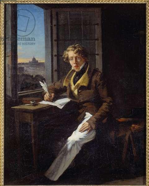 Portrait of the composer Victor Rifus (1798-1838) Painting by Joseph Court (1797-1865) 1822 Sun. 0,46x0,37 m Rouen, musee des Beaux Arts