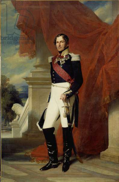 Portrait in foot of Leopold I (1790-1865), King of the Belgians Painting by Xaver Winterhalter (1806-1873) 1840 Sun. 2,78x1,81 m