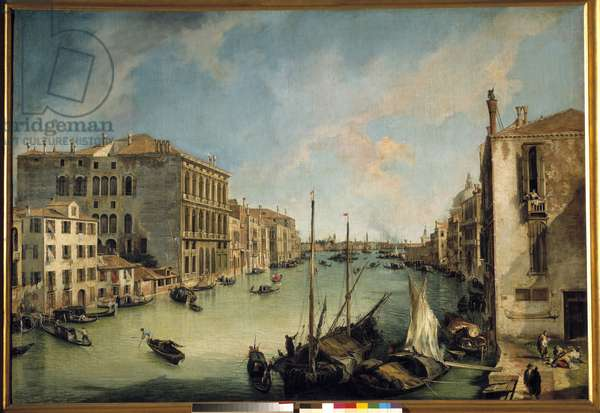 The great canal seen from San Vio Painting of Antonio Canal said Canaletto (1697-1768) 18th century Sun. 1,4x2,04 m Madrid. Musee Thyssen Bornemisza