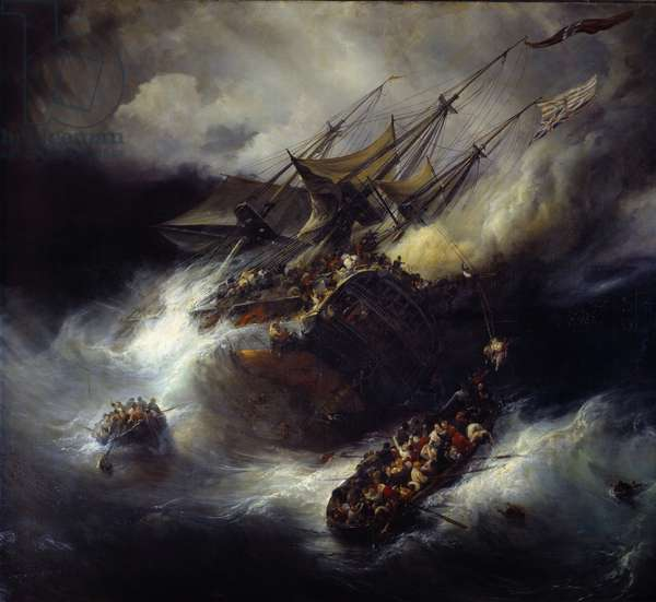 Fire of the Kent Sinking of a boat (1800). Painting by Theodore Gudin (1802-1880), 1827. Paris, Musee De La Marine