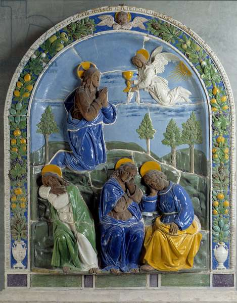 Christ at the Mount of Olives Ceramic painted and varnished by Luca della Robbia (1400-1482) 15th century. Paris, Louvre Museum